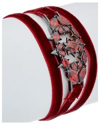 Noir Jewelry - Plated Red Glass & Velvet Frostbite Wrap Bracelet - Lyst