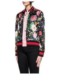 Gucci - Multicolor Flora Snake Print Silk Bomber - Lyst