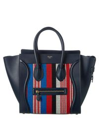 Céline - Blue Mini Luggage Calfskin & Woven Tote - Lyst