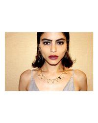 Adornia - Black Zebra Jasper And Diamond Triangle Collar Necklace - Lyst