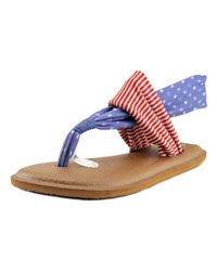d0b2fd13cfd1 Lyst - Sanuk Yoga Sling 2 Women Open Toe Canvas Multi Color Thong Sandal