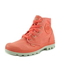 Palladium   Pampa Hi Women Round Toe Canvas Pink Boot   Lyst