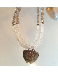 Blue Candy Jewelry - Green Labradorite And Moonstone Pave Diamond Heart Charm Necklace - Lyst