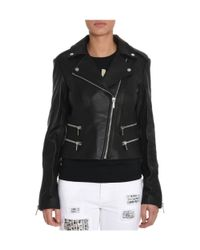 Michael Kors | Women's Black Leather Outerwear Jacket | Lyst