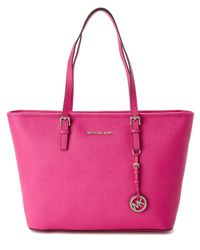 MICHAEL Michael Kors | Pink Jet Set Leather Tote | Lyst