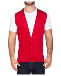Prada - Men's Cotton Sweater Cardigan Vest Red for Men - Lyst