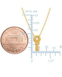 "JewelryAffairs - 14k Yellow Gold Mini Key Pendant Necklace, 16"" To 18"" Adjustable - Lyst"
