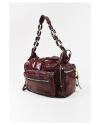 "Chloé - 1 Burgundy Red Patent Leather Zip Pocket Chain Strap ""betty"" Shoulder Bag - Lyst"