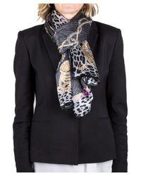 Roberto Cavalli - Gray Women's Logo Floral Animal Print Silk Scarf Large - Lyst
