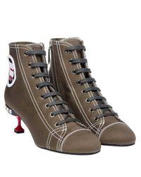 Miu Miu - Women's Brown Fabric Ankle Boots - Lyst