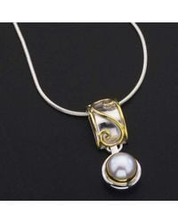 Jewelista - Gray Sterling Silver, Gold & Pearl Pendant - Lyst
