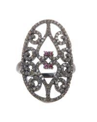 Adornia - Metallic Fine Silver Ruby Ring - Lyst