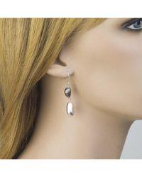 Jewelista - White Pure Silver & Ruthenium Drop Earrings - Lyst