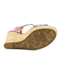 Carlos By Carlos Santana - Multicolor Bondi Open Toe Canvas Wedge Sandal - Lyst
