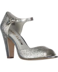 Anne Klein - Metallic Henrika Ankle Strap Peep Toe Heels, Light Gold - Lyst