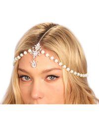 Kristin Perry - Metallic Draping Pearls Chain Headpiece - Lyst
