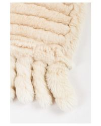 Unbranded - Natural 1 Cream Fur Ribbed Sheared Fringe Tassel Scarf - Lyst