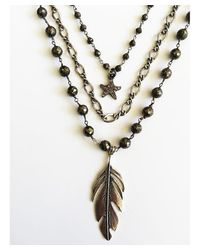 Blue Candy Jewelry - Metallic 3 Strand Pyrite And Sterling Silver Feather Charm Necklace - Lyst