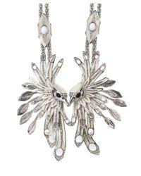 Roberto Cavalli - Metallic Silver Plated Double Bird Long Statement Necklace - Lyst