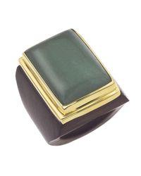 Jewelista - Green 18k Vermeil Aventurine Square Ring - Lyst