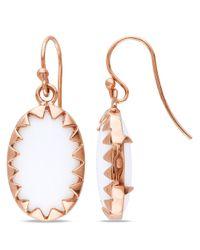 Catherine Malandrino - Pink Oval White Onyx Framed Earrings In Sterling Silver - Lyst