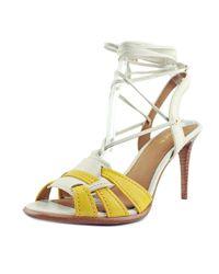 COACH - Kiara Women Open-toe Leather Yellow Slingback Heel - Lyst