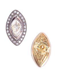 Socheec - White Marquise Rose Cut Diamond Stud Earrings - Lyst