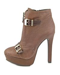 BCBGeneration - Wish Women Round Toe Leather Brown Ankle Boot - Lyst