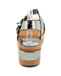 Stuart Weitzman - Gray Gatekeeper Open Toe Leather Wedge Sandal - Lyst
