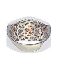 Suzy Levian - Metallic Sterling Silver/ 18k Gold 3.19tcw Sapphire And Diamond Accent Wavy Ring - Lyst