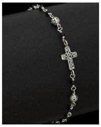 Lois Hill | Metallic Silver Black Onyx Cross Id Bracelet | Lyst