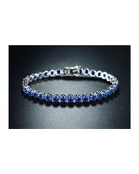 Peermont - Metallic 18k White Gold Plated Blue Spinel Crown Tennis Bracelet - Lyst