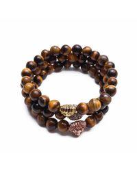 Something Strong - Brown Bundle Of 3 Beaded Zinc Alloy Lion Bracelets for Men - Lyst