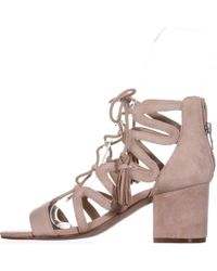 Marc Fisher - White Rayz Lace Up Sandals, Light Natural Suede - Lyst