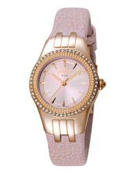 Ferrè Milano - Metallic Women's Swiss Made Swiss Quartz Light Pink Leather Strap Watch - Lyst