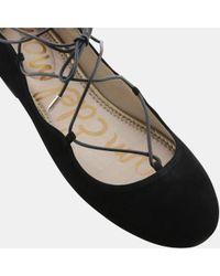 Sam Edelman - Black Flynt Suede Lace-up Ballet Flat - Lyst