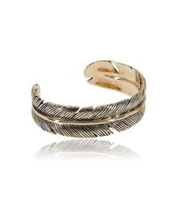 Roberto Cavalli - Metallic Gold Tone Swarovski Crystal Curved Leaf Cuff Bracelet - Lyst