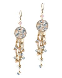 Jardin - Metallic Round Drop Earrings With Pave Crystals And Fringe - Lyst