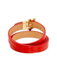 Louis Vuitton - Red Monogram Vernis Leather Triple Tour Bracelet - Lyst