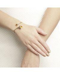 Jewelista - Diamond And Citrine Bypass Bracelet In 14k Yellow Gold - Lyst