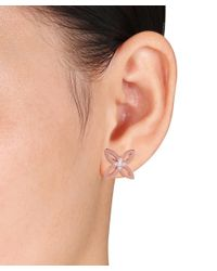 Catherine Malandrino | Pink 18k Rose Gold Plated Four Leaf Stud Earrings | Lyst
