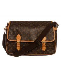 Louis Vuitton - Brown Pre Owned - Monogram Canvas Leather Gibeciere Gm Messenger Bag - Lyst