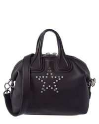 Givenchy | Black Nightingale Small Star Embellished Leather Satchel | Lyst