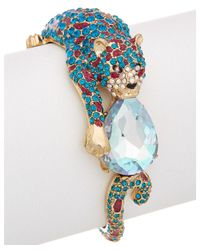 Betsey Johnson - Blue Bejeweled Critters Leopard Statement Cuff - Lyst