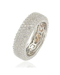Suzy Levian - White Cubic Zirconia Sterling Silver Eternity Pave Ring - Lyst