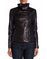 MICHAEL Michael Kors - Black Leather Large Wing Collar Jacket - Lyst