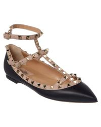 Valentino - Black Rockstud Ankle Strap Leather Ballerina Flat - Lyst