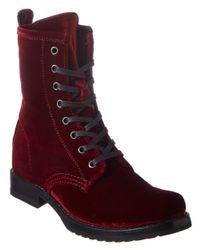 Frye - Red Veronica Combat Velvet Boot - Lyst