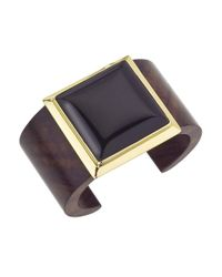Jewelista - Yellow 18k Vermeil & Onyx Square Cuff for Men - Lyst