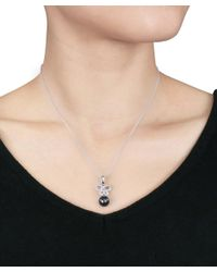Catherine Malandrino - Metallic Diamond And Black Tahitian Pearl Bow Pendant W/chain - Lyst